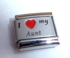 I LOVE MY AUNT Italian Charm - Red Heart Auntie Aunty fits 9mm Classic Bracelets