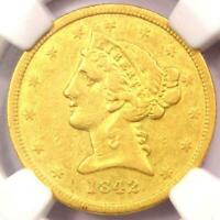 1842-D Liberty Gold Half Eagle $5 - Certified NGC XF Details - Dahlonega Coin!