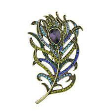 Peacock Feather Purple Crystal Rhinestone Brooch