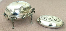A VINTAGE SILVER-PLATED ROLL TOP DOME FOOD WARMER c/w INNER DISH & LID CHAIN KEY
