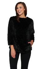 Dennis Basso Brushed Rose Faux Fur Pullover Top,Black , Size S, MSRP $139