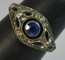 Antique 9ct Rose Gold Blue and White Paste Cluster Ring t0327