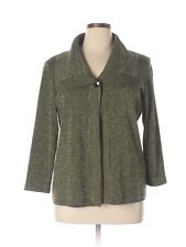 Women Misook Green Heathered Single Button Front Jacket Cardigan Tunic Size L