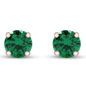 8mm SOLID 14K Rose Gold Over Emerald Green CZ Stud Ladies Men's Earrings