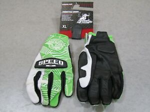 SPEED AND STRENGTH THROTTLE BODY GLOVE LEATHER/TEXTILE GREEN/WHITE XL