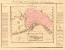 """posesiones Russes's. Rusia America (Alaska). Buchon 1825 Antiguo Mapa Antiguo"