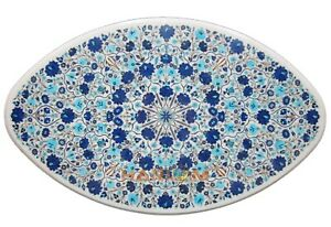 3'x2' Dining Marble Oval Table Top Turquoise Lapis Fine Floral Inlay Decor W261
