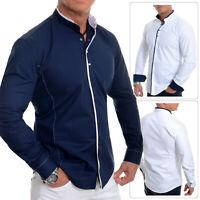 Men's Elegant Long Sleeve Shirt Smart Grandad Collar Snaps Cotton White Navy