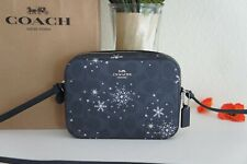 NWT Coach C1834 Mini Camera Bag In Signature Canvas With Snowflake Print $250