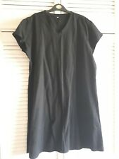 BLACK LINEN LOOK KNEE LENGTH V NECK DRESS SIZE 18/20 NEW