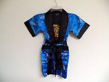 Thai Silk-Blend Child's Robe Kimono Medium Blue Reversible Dragon/Unisex-S (New)