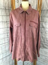 VTG Scandia Woods Long Sleeve Collared Full-Zip Chest Pockets Red Shirt Size XL