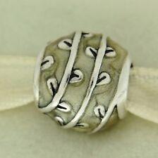 Authentic Pandora 790525EN19 Vines Beige Enamel Sterling Silver Bead Charm