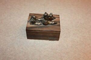 Antique- Vintage Art Deco Poodle Dog Cast Sterling Silver-Statue Wood Base -Nice