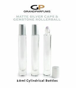 1PC MATTE Silver Cap, LUXURY 10ml TAll, THIN Cylinder Bottle, Gemstone Rollerba