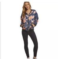 MINKPINK Floral Print Bomber Puff Jacket Pink Blue Zip Up Jacket Warm Large L