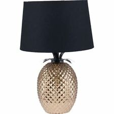 New Home Lighting Side Light Pineapple Table Lamp in Gold With Black Shade