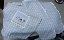 cox and cox Duvet Cover Set Double Size LAGOM Grey White Stripes Brushed Cotton