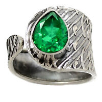 Emerald Natural Crystal Quartz Doublet 925 Sterling Silver Ring - Size 9