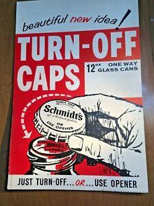 Schmidt's Beer Poster - 12 oz Glass Bottles w/ Turn-off Caps- 1960's/70's- P3118