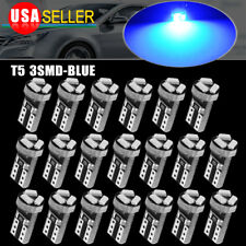 20x T5 Wedge 3-SMD 3014 Speedometer Gauge Cluster LED Light Bulb 37 73 74 Blue
