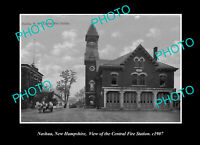 OLD POSTCARD SIZE PHOTO NASHUA NEW HAMPSHIRE, THE CENTRAL FIRE STATION c1907