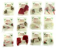 1 PAIR OF CHRISTMAS SLEEPIES HAIR CLIP SANTA SNOWFLAKE SNOWMAN REINDEER HOLL kn