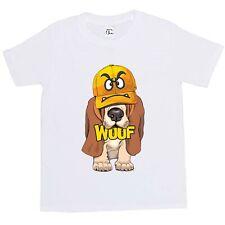 1Tee Niños Niñas Bassett Hound Cachorro usando Angry Cara Gorra T-Shirt