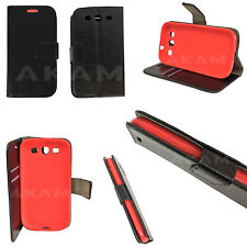 Genuine PU Leather Black Book Wallet Flip Case Cover For Samsung Galaxy S3 i9300