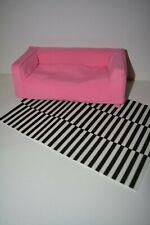 Ikea Mattel Barbie Fashion Royalty Bratz Doll Furniture Pink Couch+ Carpet Huset