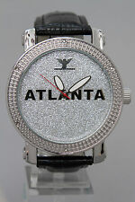 Atlanta Men's Diamond King watch Casual  Faux Leather  14KT White Gold colo