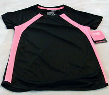 Danskin Now Active Tee Girl's L (10/12) Tee Black With PinkTrim Dri-More