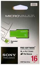 SONY USM16GM 16GB GREEN USB 2.0 Micro Vault Tiny USB Flash Drive Thumb KEY 16G
