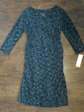 Liz Lange Maternity Dress XS Ruched With 3/4 Sleeves Ebony Space Dye Black