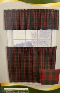 Red & Green Tartan Plaid Valance and Tier Curtain NIP Holiday Time Christmas