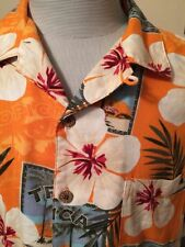Hawaiian Aloha Camp  SHIRT  XL Orange Tropical Leafy FLORAL