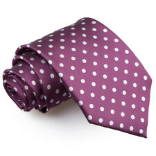DQT Woven Polka Dot Purple Formal Casual Mens Classic Tie