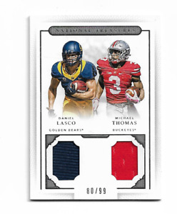 MICHAEL THOMAS 2016 NATIONAL TREASURES DUAL GAME JERSEY ROOKIE #14 /99 $40.00 !