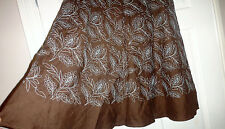 MONSOON  FLORAL EMBROIDERED PATTERN 100% LINEN SKIRT FULLY LINED SIZE 8