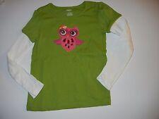 Gymboree Fall for Autumn 6 Green Owl Girls Shirt Top LR