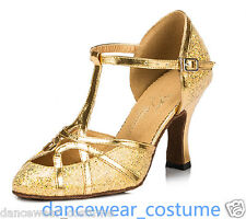 Women's Gold Ballroom Latin Tango Modern Salsa Dance Shoes 6cm Heels US7.5 B55