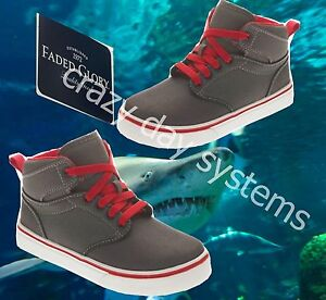 Faded Glory Gray Sharkskin Red Casual Hi-Top Sneakers Shoes Youth Size 4 Boys