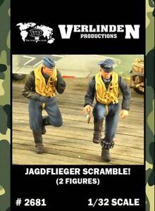 Verlinden 1:32 Jagdflieger Scramble - 2 Resin Figures Kit #2681