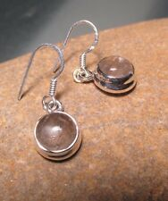 Sterling silver everyday cabochon RUTILATED QUARTZ HOOK earrings.