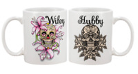 Sugar skull hubby and wifey mugs cups day of the dead mug