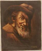 "Old Oil Painting on Canvas Portrait of Man Signed Unframed Art (16"" x 13"")"