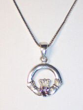 STERLING SILVER CLADDAGH WITH AMETHYST HEART NECKLACE ON 18 INCH BOX CHAIN