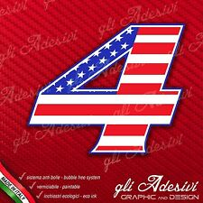 Adesivo Stickers NUMERO 4 moto auto cross gara USA Star & Stripes 15 cm