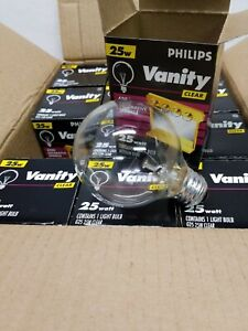Philips Clear Round Globe Light Bulbs Bathroom Vanity 25 Watt G25 (12 bulbs).