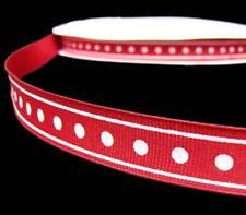 "5 Yards Red White Polka Dot Stripe Grosgrain Ribbon 5/8""W"